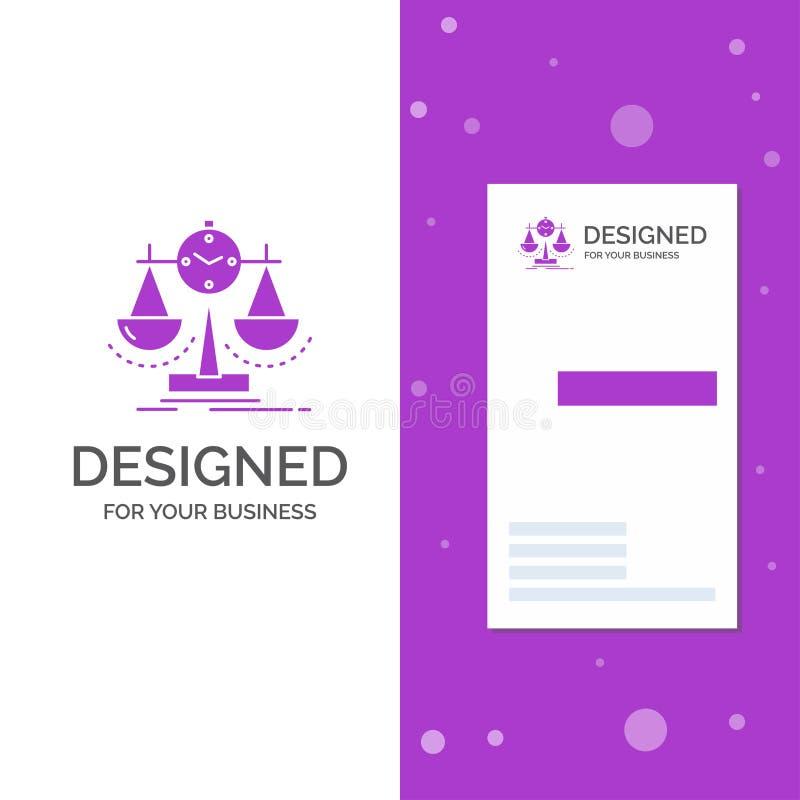 Επιχειρησιακό λογότυπο για ισορροπημένος, διαχείριση, μέτρο, scorecard, στρατηγική Κάθετο πορφυρό πρότυπο καρτών επιχειρήσεων/επί διανυσματική απεικόνιση