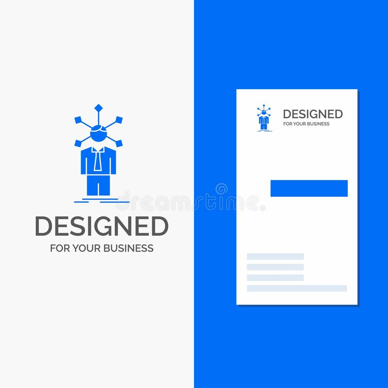 Επιχειρησιακό λογότυπο για την ανάπτυξη, άνθρωπος, δίκτυο, προσωπικότητα, μόνη Κάθετο μπλε πρότυπο καρτών επιχειρήσεων/επίσκεψης απεικόνιση αποθεμάτων