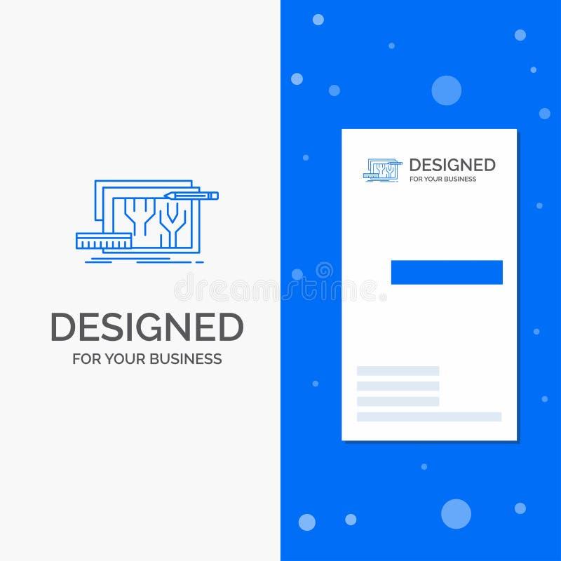 Επιχειρησιακό λογότυπο για την αρχιτεκτονική, σχεδιάγραμμα, κύκλωμα, σχέδιο, εφαρμοσμένη μηχανική Κάθετο μπλε πρότυπο καρτών επιχ απεικόνιση αποθεμάτων