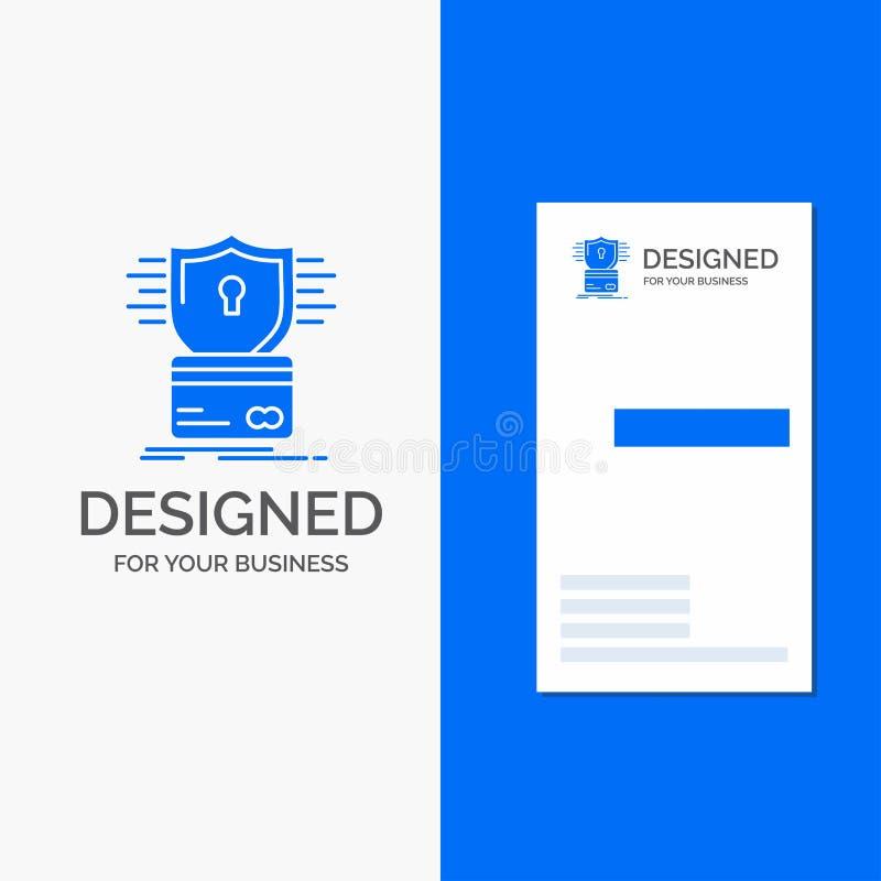 Επιχειρησιακό λογότυπο για την ασφάλεια, πιστωτική κάρτα, κάρτα, χάραξη, αμυχή Κάθετο μπλε πρότυπο καρτών επιχειρήσεων/επίσκεψης απεικόνιση αποθεμάτων