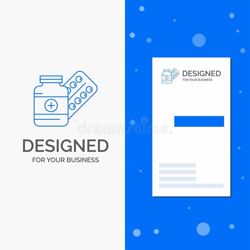 Επιχειρησιακό λογότυπο για την ιατρική, χάπι, κάψα, φάρμακα, ταμπλέτα Κάθετο μπλε πρότυπο καρτών επιχειρήσεων/επίσκεψης διανυσματική απεικόνιση