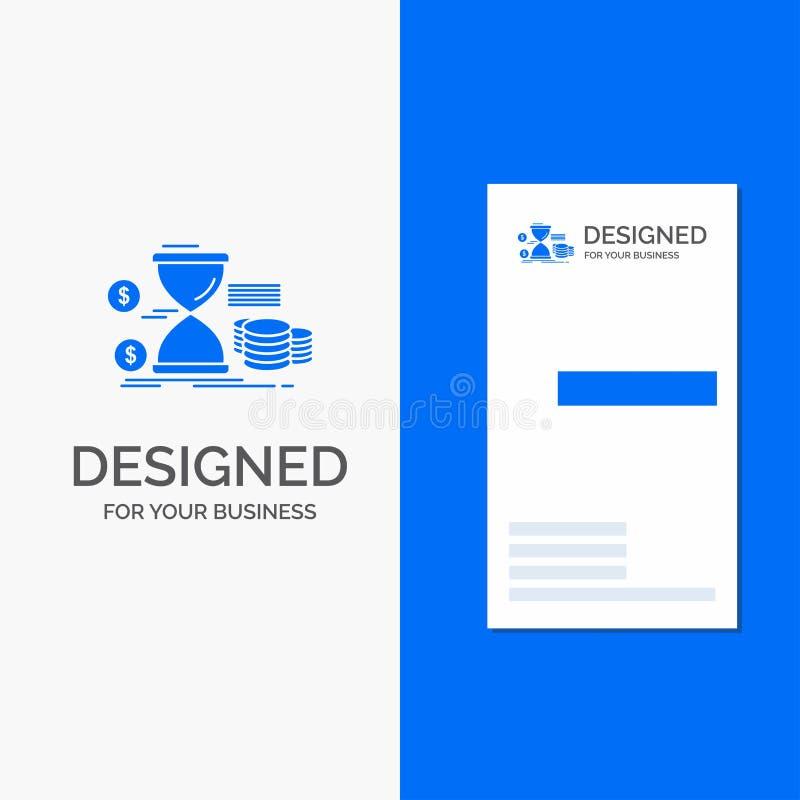 Επιχειρησιακό λογότυπο για την κλεψύδρα, διαχείριση, χρήματα, χρόνος, νομίσματα Κάθετο μπλε πρότυπο καρτών επιχειρήσεων/επίσκεψης διανυσματική απεικόνιση