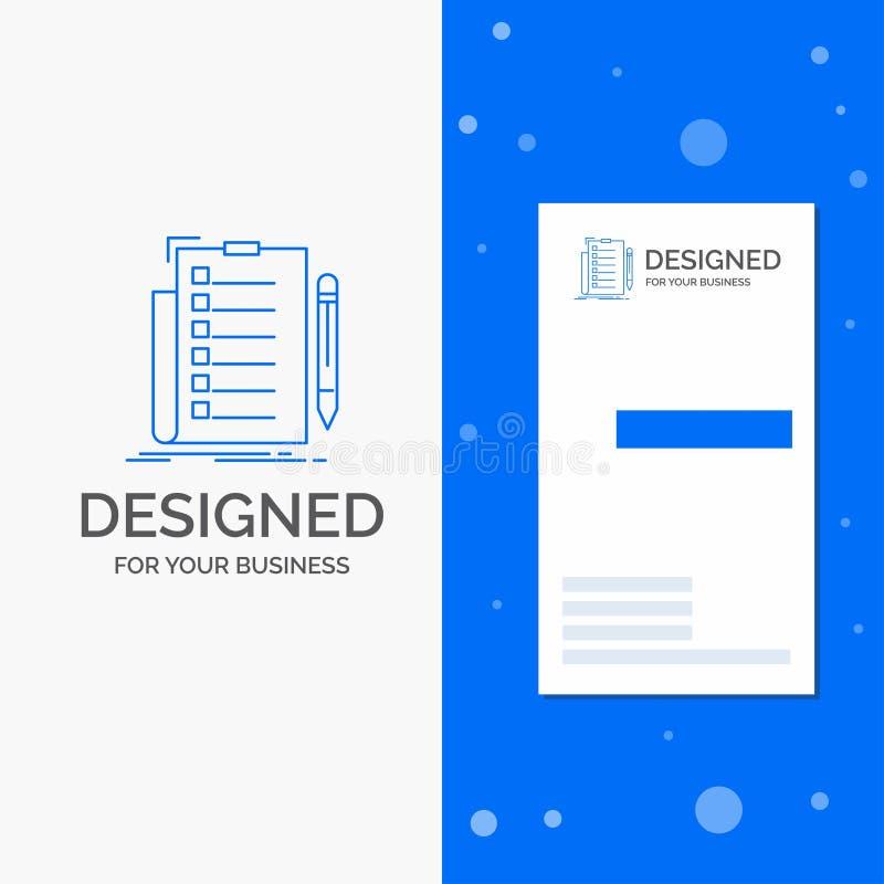 Επιχειρησιακό λογότυπο για την πείρα, πίνακας ελέγχου, έλεγχος, κατάλογος, έγγραφο Κάθετο μπλε πρότυπο καρτών επιχειρήσεων/επίσκε διανυσματική απεικόνιση