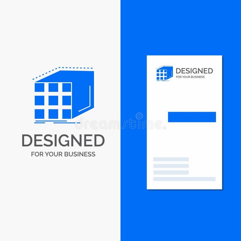 Επιχειρησιακό λογότυπο για την περίληψη, συνάθροιση, κύβος, διαστατικός, μήτρα Κάθετο μπλε πρότυπο καρτών επιχειρήσεων/επίσκεψης ελεύθερη απεικόνιση δικαιώματος