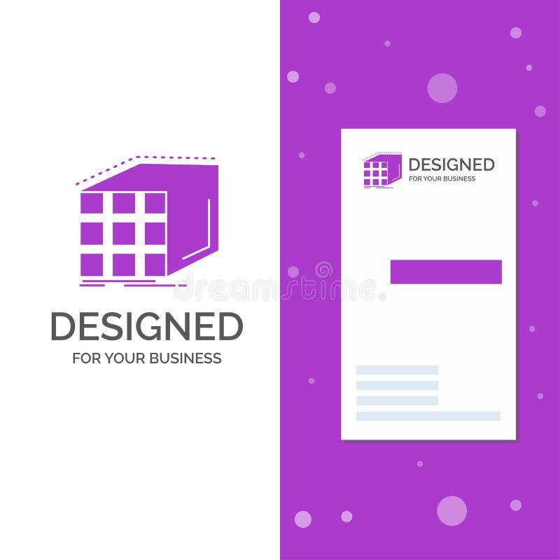 Επιχειρησιακό λογότυπο για την περίληψη, συνάθροιση, κύβος, διαστατικός, μήτρα Κάθετο πορφυρό πρότυπο καρτών επιχειρήσεων/επίσκεψ απεικόνιση αποθεμάτων