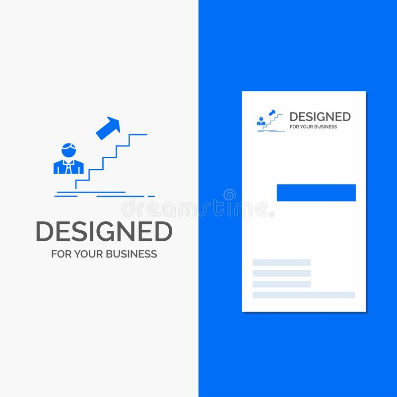 Επιχειρησιακό λογότυπο για την προώθηση, επιτυχία, ανάπτυξη, ηγέτης, σταδιοδρομία Κάθετο μπλε πρότυπο καρτών επιχειρήσεων/επίσκεψ διανυσματική απεικόνιση