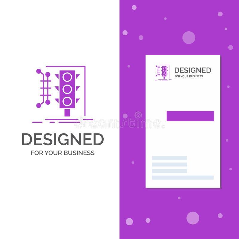 Επιχειρησιακό λογότυπο για την πόλη, διαχείριση, έλεγχος, έξυπνος, κυκλοφορία Κάθετο πορφυρό πρότυπο καρτών επιχειρήσεων/επίσκεψη απεικόνιση αποθεμάτων