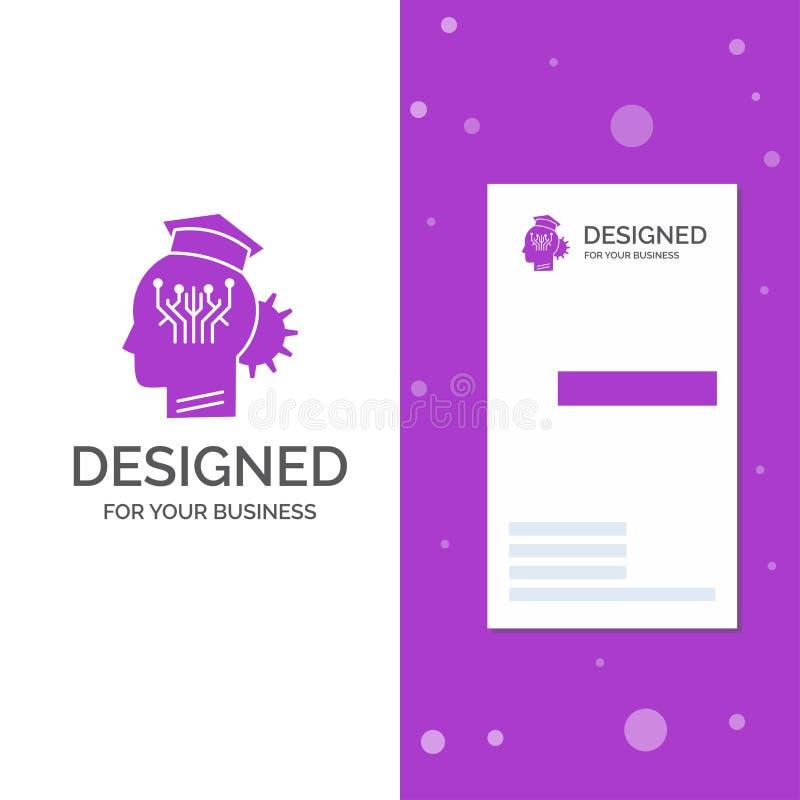 Επιχειρησιακό λογότυπο για τη γνώση, διαχείριση, διανομή, έξυπνη, τεχνολογία Κάθετο πορφυρό πρότυπο καρτών επιχειρήσεων/επίσκεψης διανυσματική απεικόνιση
