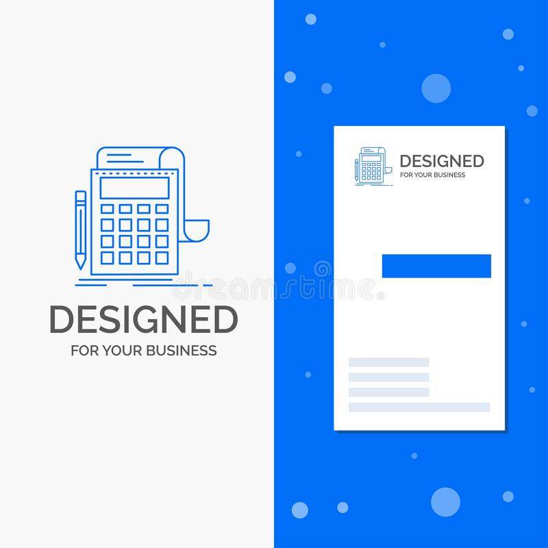Επιχειρησιακό λογότυπο για τη λογιστική, λογιστικός έλεγχος, τραπεζικές εργασίες, υπολογισμός, υπολογιστής Κάθετο μπλε πρότυπο κα απεικόνιση αποθεμάτων