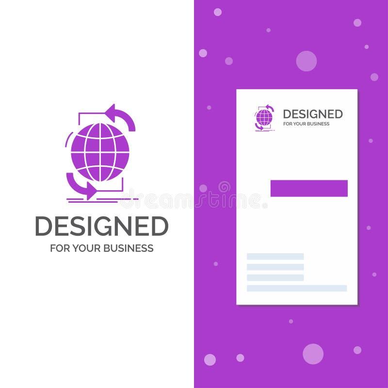 Επιχειρησιακό λογότυπο για τη συνδετικότητα, σφαιρική, Διαδίκτυο, δίκτυο, Ιστός Κάθετο πορφυρό πρότυπο καρτών επιχειρήσεων/επίσκε διανυσματική απεικόνιση