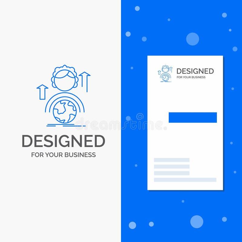 Επιχειρησιακό λογότυπο για τις δυνατότητες, ανάπτυξη, θηλυκός, σφαιρική, on-line Κάθετο μπλε πρότυπο καρτών επιχειρήσεων/επίσκεψη διανυσματική απεικόνιση