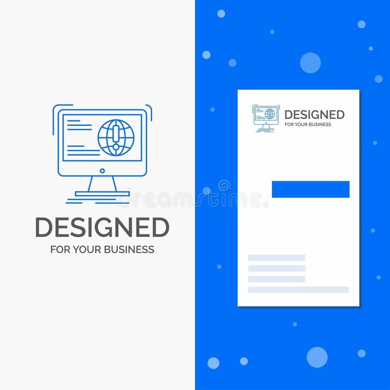 Επιχειρησιακό λογότυπο για τις πληροφορίες, περιεχόμενο, ανάπτυξη, ιστοχώρος, Ιστός Κάθετο μπλε πρότυπο καρτών επιχειρήσεων/επίσκ απεικόνιση αποθεμάτων