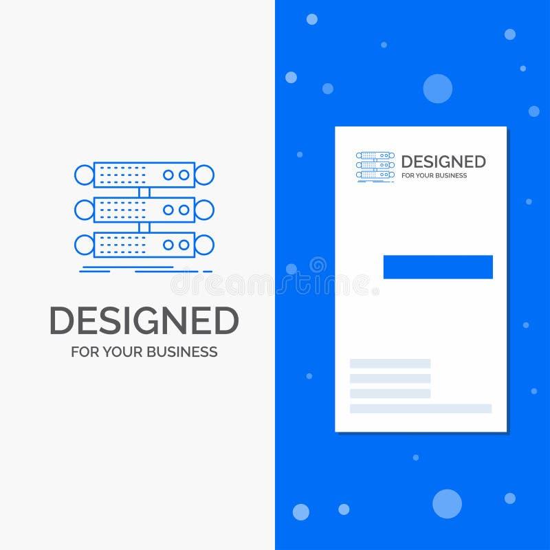 Επιχειρησιακό λογότυπο για τον κεντρικό υπολογιστή, δομή, ράφι, βάση δεδομένων, στοιχεία Κάθετο μπλε πρότυπο καρτών επιχειρήσεων/ ελεύθερη απεικόνιση δικαιώματος