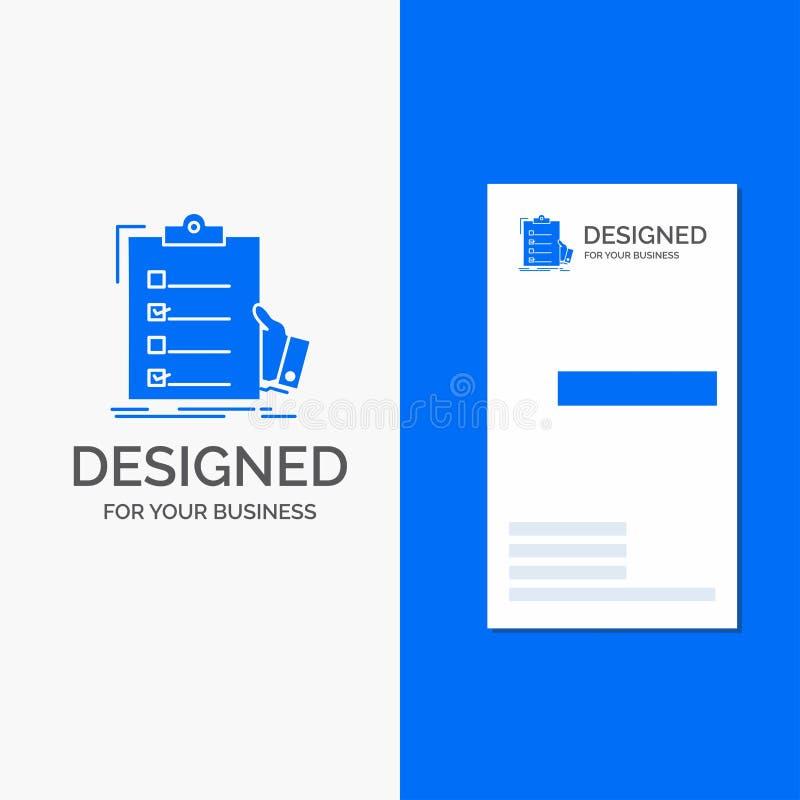 Επιχειρησιακό λογότυπο για τον πίνακα ελέγχου, έλεγχος, πείρα, κατάλογος, περιοχή αποκομμάτων Κάθετο μπλε πρότυπο καρτών επιχειρή διανυσματική απεικόνιση