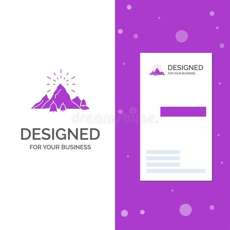 Επιχειρησιακό λογότυπο για το λόφο, τοπίο, φύση, βουνό, πυροτεχνήματα Κάθετο πορφυρό πρότυπο καρτών επιχειρήσεων/επίσκεψης r διανυσματική απεικόνιση