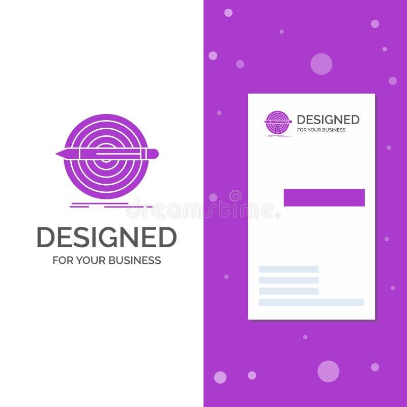 Επιχειρησιακό λογότυπο για το σχέδιο, στόχος, μολύβι, σύνολο, στόχος Κάθετο πορφυρό πρότυπο καρτών επιχειρήσεων/επίσκεψης Δημιουρ διανυσματική απεικόνιση