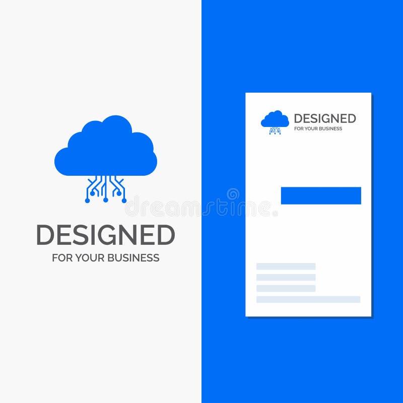 Επιχειρησιακό λογότυπο για το σύννεφο, υπολογισμός, στοιχεία, φιλοξενία, δίκτυο Κάθετο μπλε πρότυπο καρτών επιχειρήσεων/επίσκεψης διανυσματική απεικόνιση