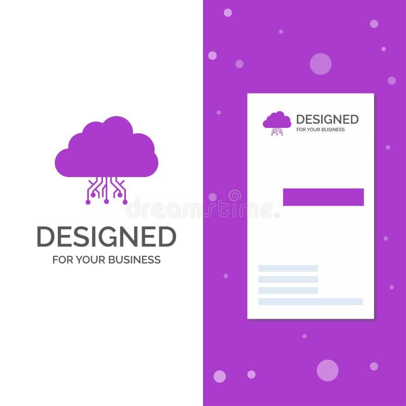 Επιχειρησιακό λογότυπο για το σύννεφο, υπολογισμός, στοιχεία, φιλοξενία, δίκτυο Κάθετο πορφυρό πρότυπο καρτών επιχειρήσεων/επίσκε απεικόνιση αποθεμάτων