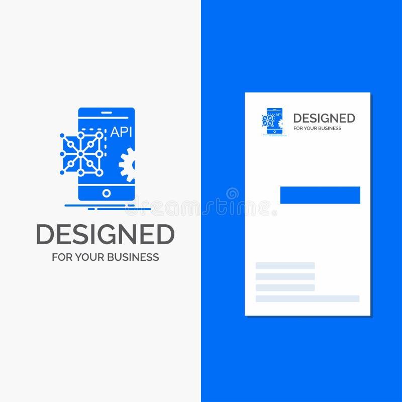 Επιχειρησιακό λογότυπο για το API, εφαρμογή, κωδικοποίηση, ανάπτυξη, κινητή Κάθετο μπλε πρότυπο καρτών επιχειρήσεων/επίσκεψης απεικόνιση αποθεμάτων
