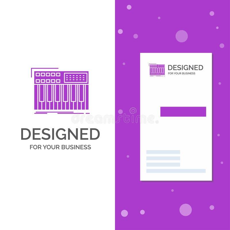 Επιχειρησιακό λογότυπο για το synth, πληκτρολόγιο, Midi, συνθέτης, συνθέτης Κάθετο πορφυρό πρότυπο καρτών επιχειρήσεων/επίσκεψης  ελεύθερη απεικόνιση δικαιώματος