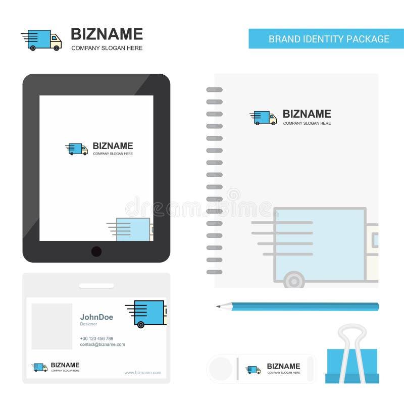 Επιχειρησιακό λογότυπο φορτηγών, ετικέττα App, κάρτα υπαλλήλων PVC ημερολογίων και στάσιμο πρότυπο σχεδίου συσκευασίας εμπορικών  ελεύθερη απεικόνιση δικαιώματος