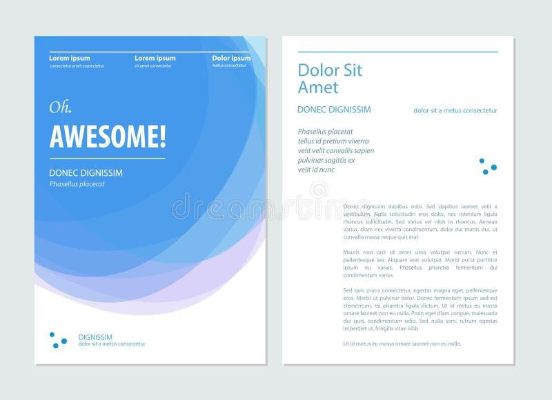 Επιχειρησιακό μπλε φυλλάδιο, ιπτάμενο, πρότυπο σχεδιαγράμματος σχεδίου βιβλιάριων επίσης corel σύρετε το διάνυσμα απεικόνισης απεικόνιση αποθεμάτων