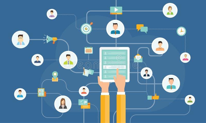 Επιχειρησιακό περιεχόμενο που μοιράζεται στην κινητή έννοια κινητή κοινωνική σύνδεση δικτύων On-line εμπορικός ελεύθερη απεικόνιση δικαιώματος