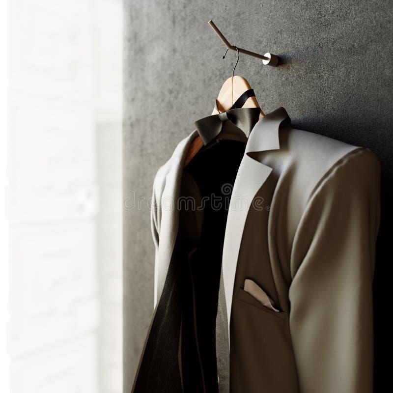 επιχειρησιακό σακάκι στο κατασκευασμένο υπόβαθρο φωτογραφιών έννοιας τοίχων στοκ εικόνες