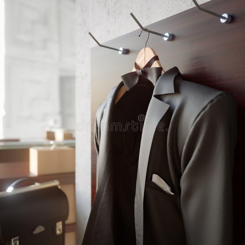 επιχειρησιακό σακάκι στο κατασκευασμένο υπόβαθρο φωτογραφιών έννοιας τοίχων στοκ εικόνες με δικαίωμα ελεύθερης χρήσης