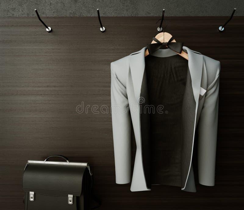 επιχειρησιακό σακάκι στο κατασκευασμένο υπόβαθρο φωτογραφιών έννοιας τοίχων στοκ φωτογραφία