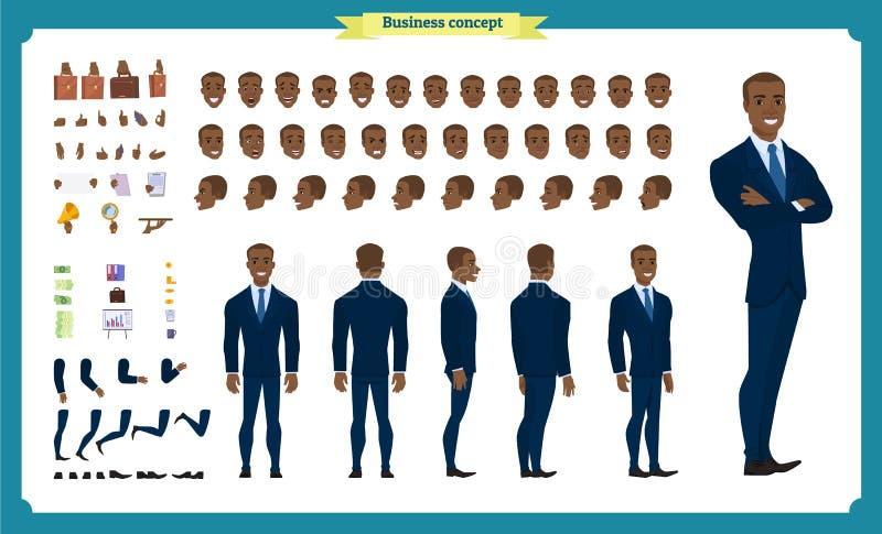 Επιχειρησιακό σύνολο χαρακτήρα ανθρώπων Μπροστινός, δευτερεύων, πίσω ζωντανεψοντας άποψη χαρακτήρας Μαύρο αμερικανικό σύνολο δημι απεικόνιση αποθεμάτων
