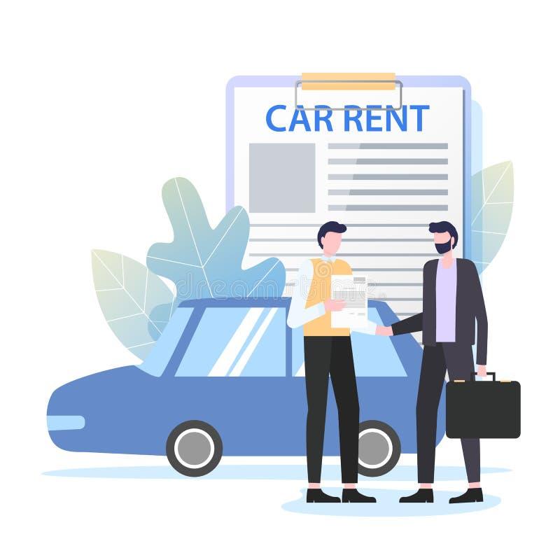 Επιχειρησιακό ταξίδι εμπόρων αυτοκινήτων μισθώματος επιχειρηματιών απεικόνιση αποθεμάτων