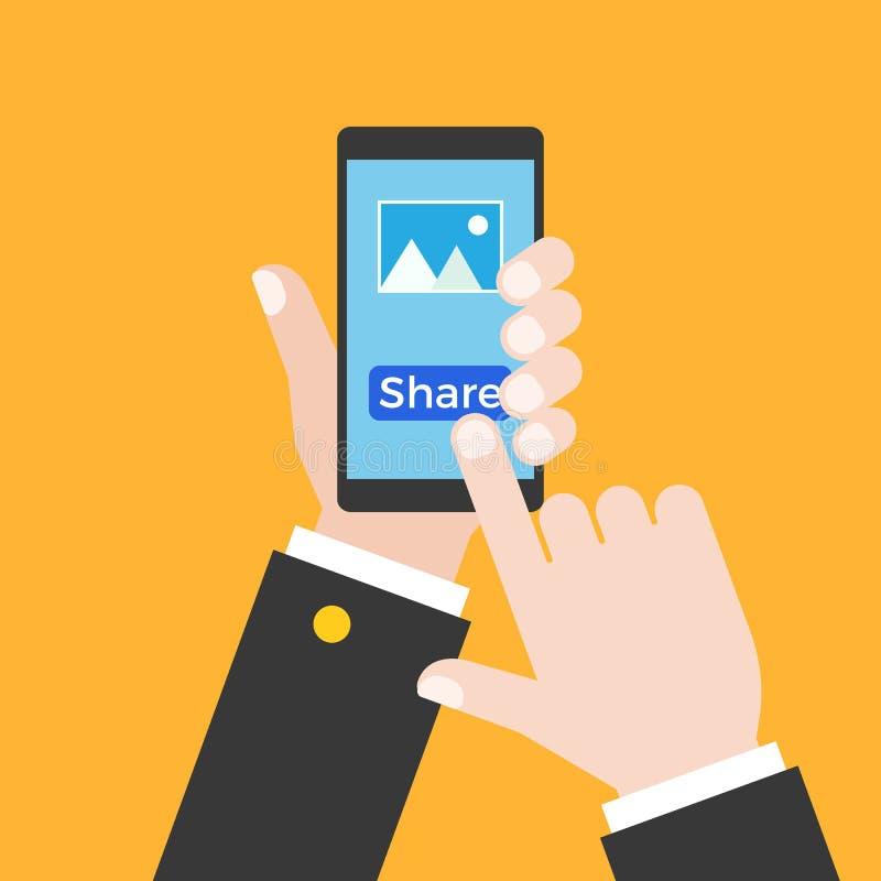 Επιχειρησιακό χέρι που κρατά το έξυπνο τηλέφωνο και την αφή στην οθόνη για το μερίδιο απεικόνιση αποθεμάτων