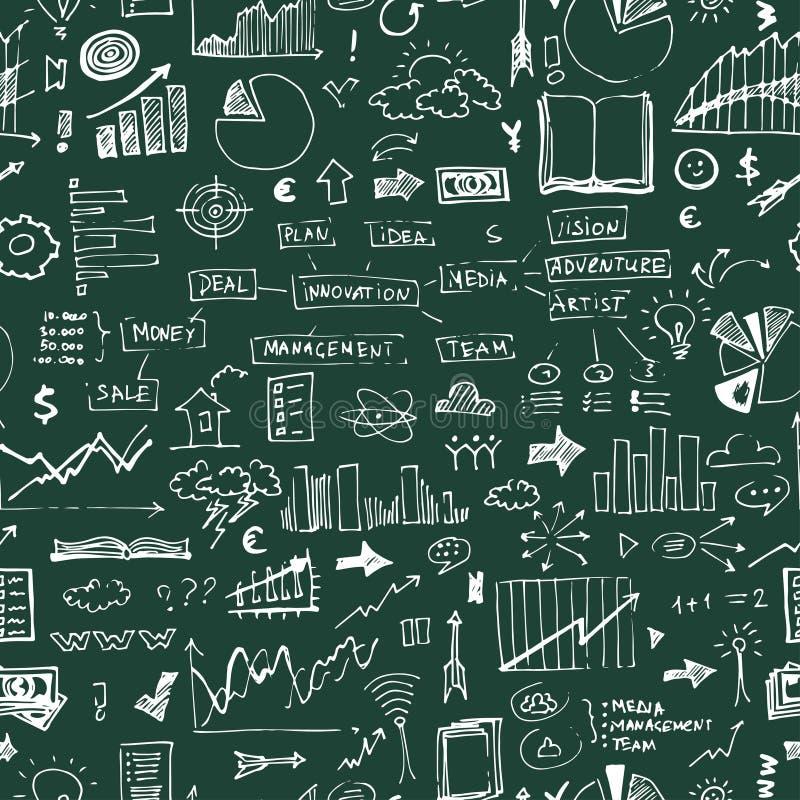 Επιχειρησιακό doodles άνευ ραφής σχέδιο Στοιχεία επιτυχίας στο ατελείωτο υπόβαθρο απεικόνιση αποθεμάτων