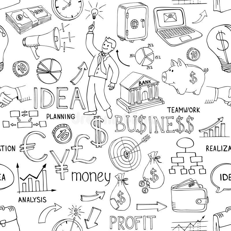 Επιχειρησιακό doodles άνευ ραφής σχέδιο ελεύθερη απεικόνιση δικαιώματος