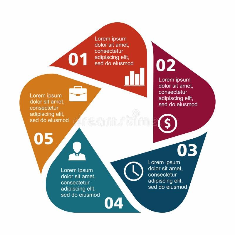 Επιχειρησιακό infographic Πεντάγωνο στο επίπεδο σχέδιο Σχεδιάγραμμα για τις επιλογές ή τα βήματά σας Αφηρημένο σχέδιο για το υπόβ διανυσματική απεικόνιση