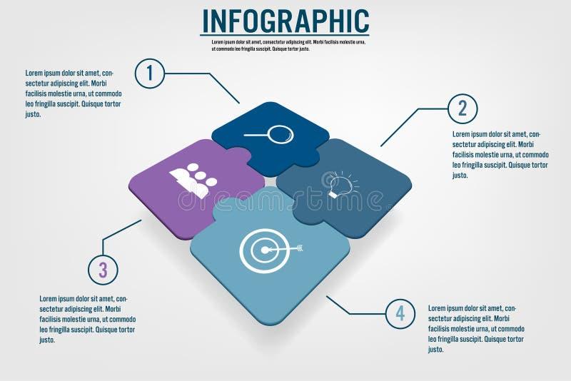 Επιχειρησιακό infographic πρότυπο με τη μορφή τορνευτικών πριονιών 4 επιλογών, απόσπασμα απεικόνιση αποθεμάτων