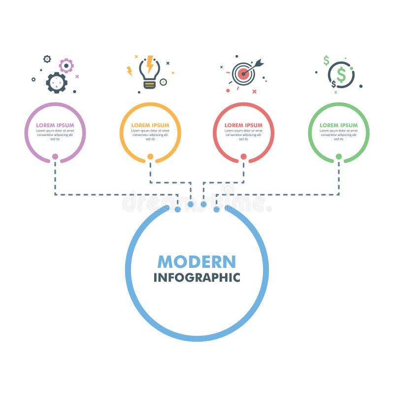 Επιχειρησιακό infographic πρότυπο Σύγχρονη υπόδειξη ως προς το χρόνο Desig Infographics διανυσματική απεικόνιση