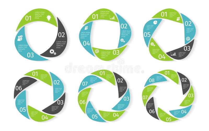 Επιχειρησιακό infographic σύνολο κύκλων δρύινο διάνυσμα προτύπων κορδελλών φύλλων δαφνών συνόρων ελεύθερη απεικόνιση δικαιώματος