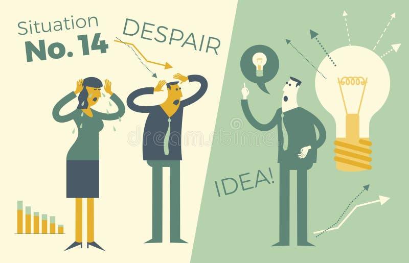 Επιχειρησιακό infographics, επιχειρησιακές καταστάσεις Ένας άνδρας και μια εκμετάλλευση γυναικών επάνω σε ένα κεφάλι, ένα πρόβλημ διανυσματική απεικόνιση