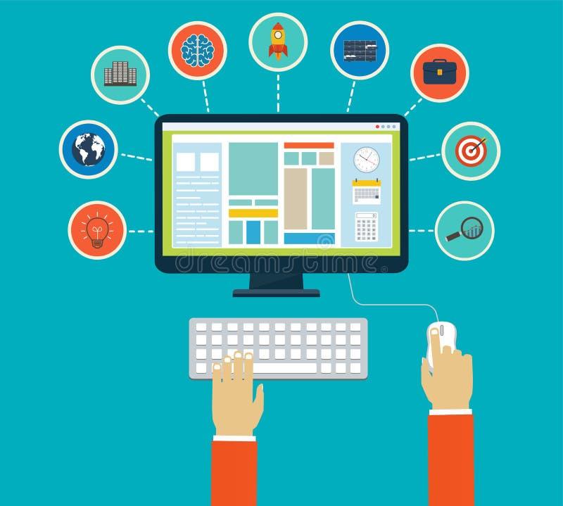 Επιχειρησιακό infographics με τη χρησιμοποίηση σύγχρονη των ψηφιακών συσκευών απεικόνιση αποθεμάτων