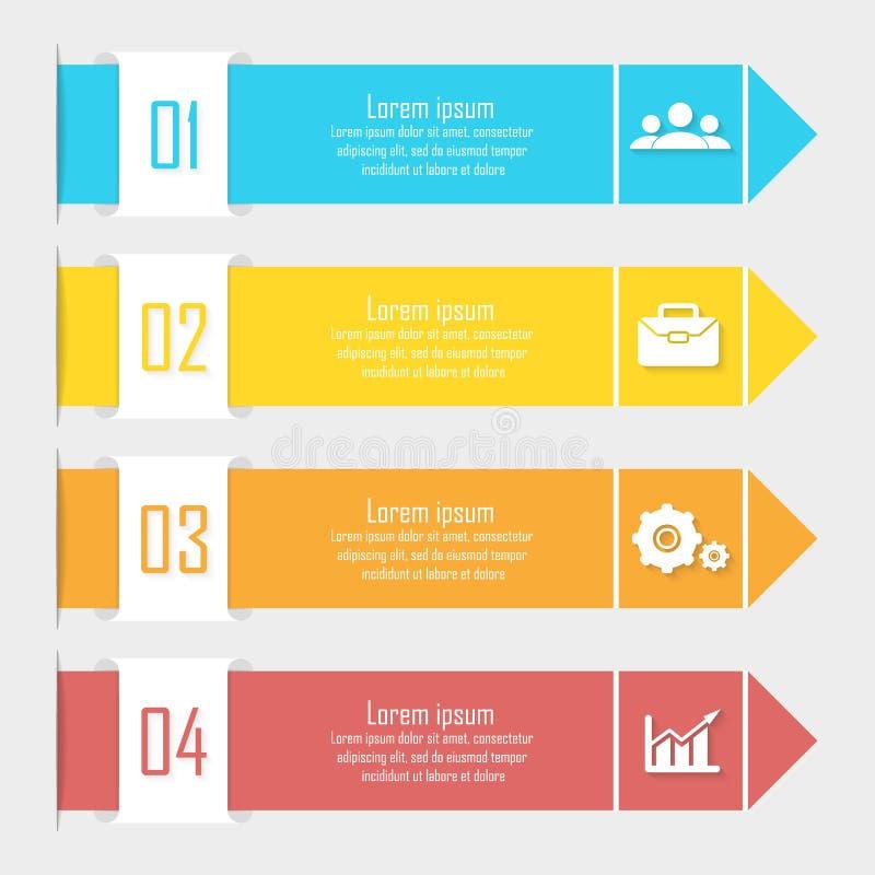 Επιχειρησιακό infographics με το βέλος Πρότυπο με 4 στοιχεία, βήματα, επιλογές απεικόνιση αποθεμάτων