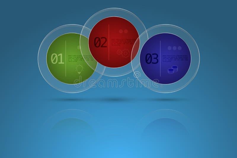 Επιχειρησιακό infographics υπόδειξης ως προς το χρόνο τριών βημάτων στη μορφή των WI κύκλων ελεύθερη απεικόνιση δικαιώματος