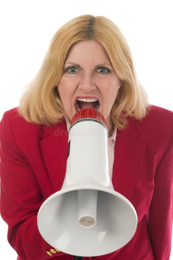 επιχειρησιακό megaphone που χρησιμοποιεί τη γυναίκα στοκ φωτογραφία με δικαίωμα ελεύθερης χρήσης