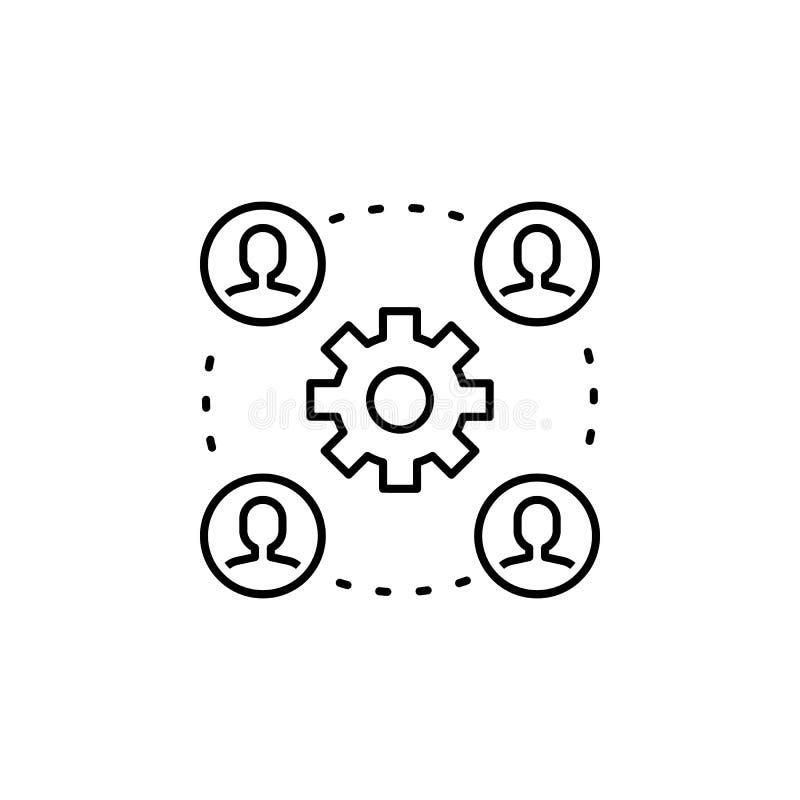 επιχειρησιακό seo, εικονίδιο γραμμών συνελεύσεων εργαλείων Ομαδική εργασία στην ιδέα E απεικόνιση αποθεμάτων