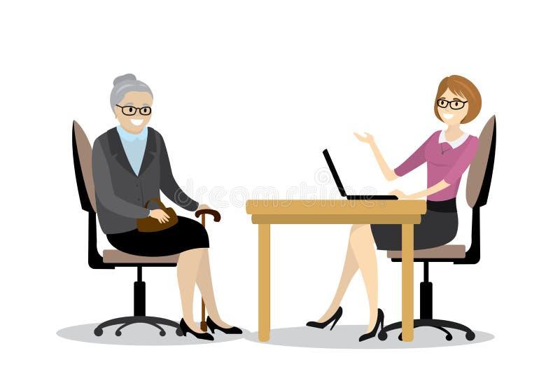 Επιχειρησιακών γυναικών και γιαγιάδων κινούμενων σχεδίων ομιλία στην αρχή, διανυσματική απεικόνιση