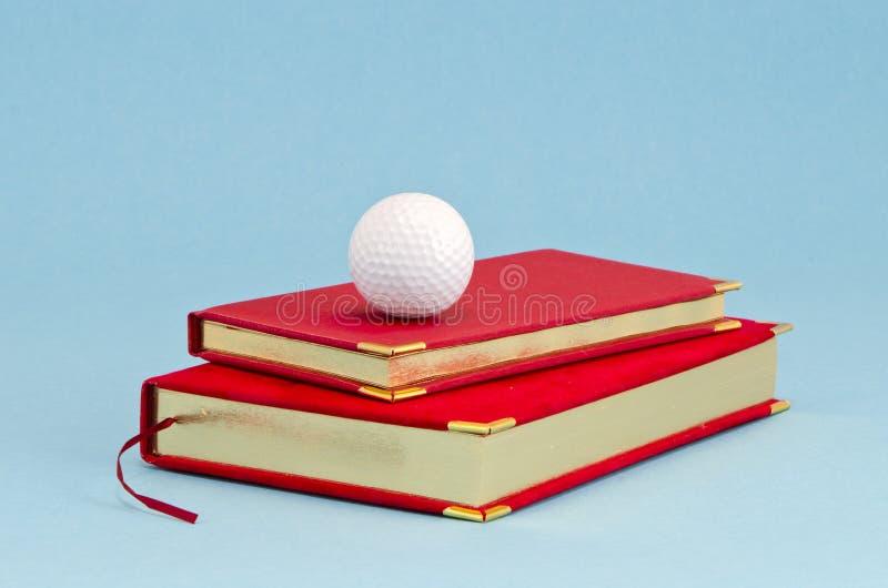 Επιχρυσωμένες επιχειρησιακό ημερολόγιο και σφαίρα γκολφ στοκ εικόνες με δικαίωμα ελεύθερης χρήσης
