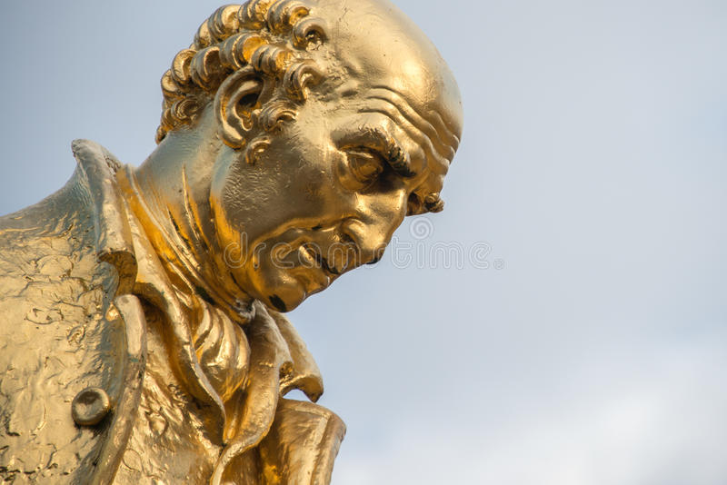 Επιχρυσωμένο άγαλμα χαλκού του Matthew Boulton, Watt του James και του William στοκ εικόνες με δικαίωμα ελεύθερης χρήσης
