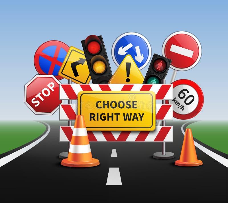 Επιλέξτε τη σωστή ρεαλιστική έννοια τρόπων ελεύθερη απεικόνιση δικαιώματος
