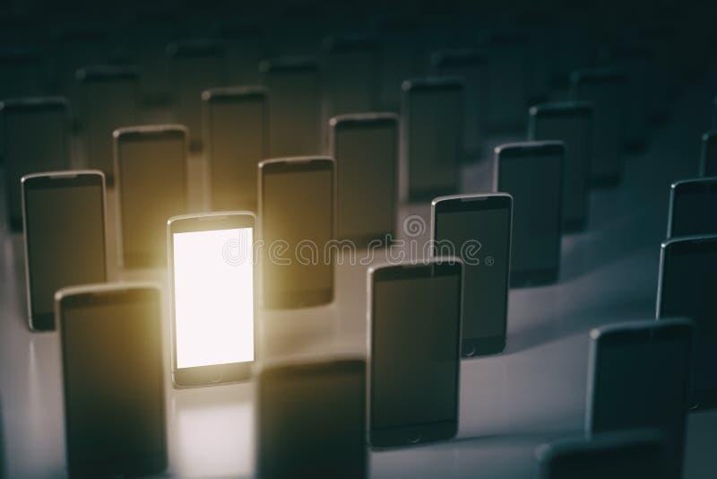 Επιλέξτε το κινητό τηλέφωνο Πολλά smartphones η εννοιολογική απεικόνιση επιχειρησιακών επικοινωνιών ανασκόπησης απομόνωσε το λευκ απεικόνιση αποθεμάτων